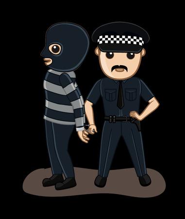 arrested: Police Arrested a Gangster Illustration