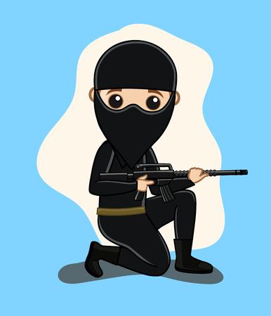 commando: Commando with Mask Holding a Gun