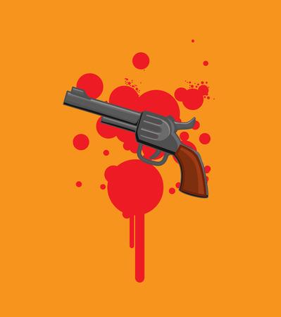 Gun Isolated on Blood - Murder Concept Illustration