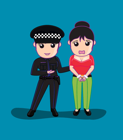 handcuffs female: Lady Police Arrested a Woman Illustration