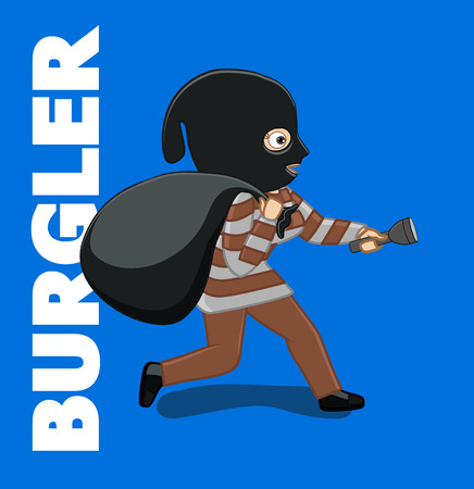burglar: Burglar Running with Money Bag