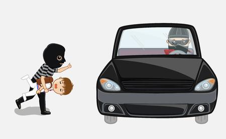 balaclava: Robber Kidnapped a Kid and Running Toward Car