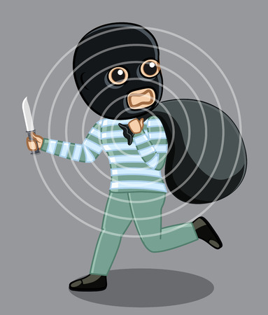 robbery: Balaclava Robber Running After Robbery Concept Illustration