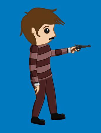 Terrorist Showing a Gun Illustration