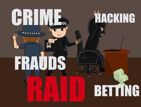 the fbi: Cops Arrested a Fraud Hacker Vector Concept Illustration