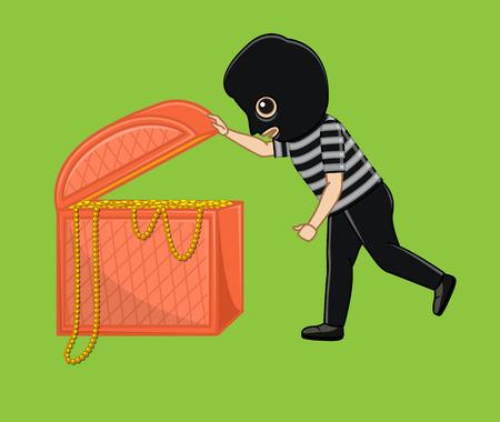 Robber Investigating the Treasure
