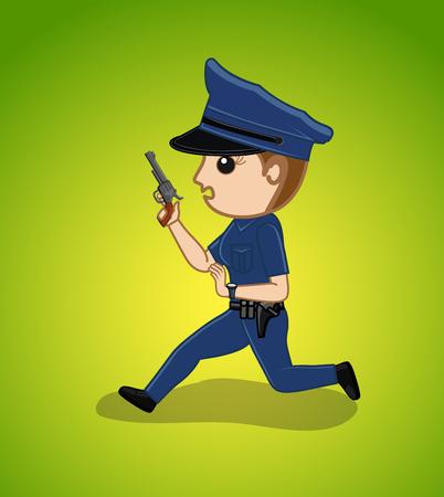 Running Female Police