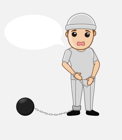 shackle: Sad Prisoner with Shackle Ball Vector