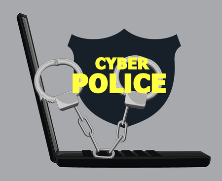 stealing data: Cybercrime Concept With Handcuffs and Laptop Illustration