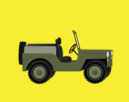 rural india: Open Jeep Car Illustration