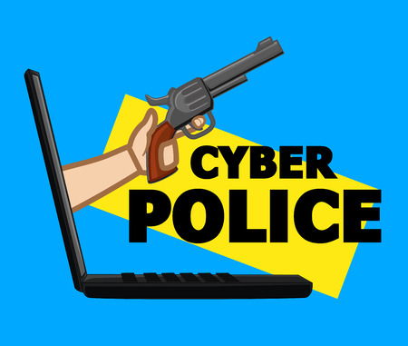 Cyber Police for Cybercrime Vector Concept