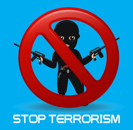 Stop Terrorist Message Illustration Illustration