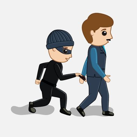 pickpocket: Pickpocket Trying to Steal Wallet Vector Concept