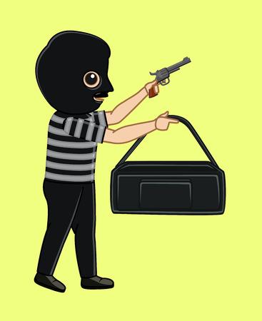 robber: Robber Threatening for Money Illustration