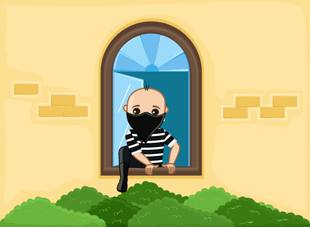 Balaclava Robber Trying to Escape from House Window Illustration