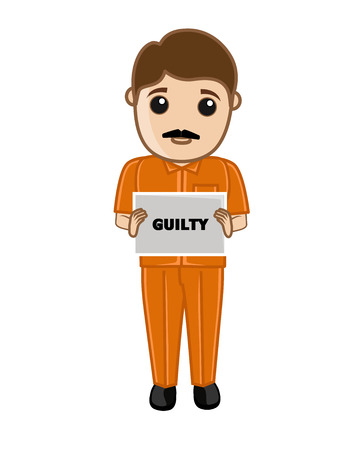 Sad Criminal Holding a Guilty Placard Illustration