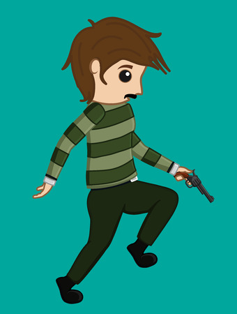 Terrorist Running with Gun