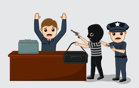 arrested: Police Arrested a Robber Vector Concept Illustration