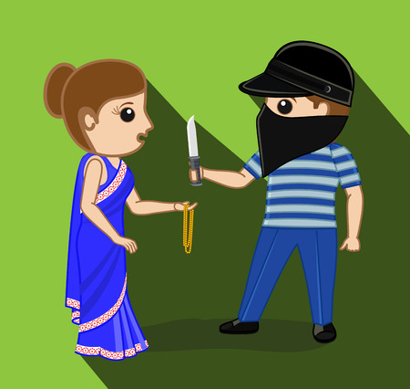 rob: Thief Trying to Rob a Woman Illustration