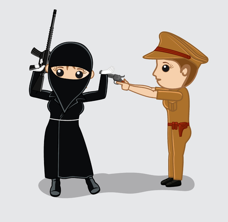 female police: Female Police Arrested a Female Terrorist Illustration