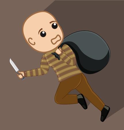 Robber Cartoon Courir avec Sac d'argent Banque d'images - 64115870