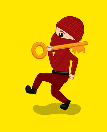 Thief Character with Key Vector Illustration