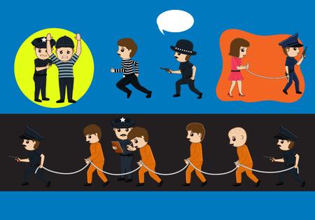 handcuffs female: Police Arrested Criminals Vector Illustration Illustration
