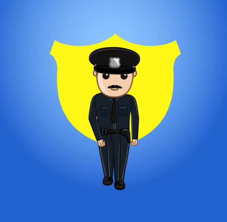 intimidating: Policeman Character Vector Illustration