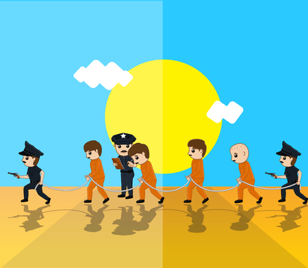 firing: Police with Criminals Vector Illustration