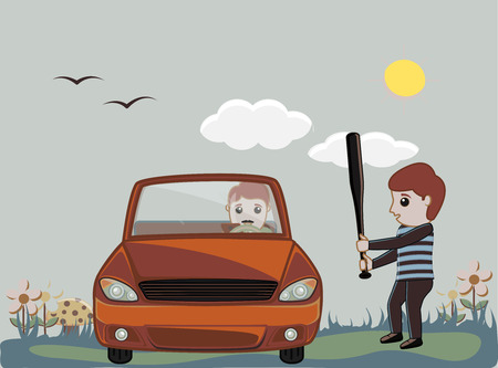 A Man Trying to Hit a Car Driver Illustration