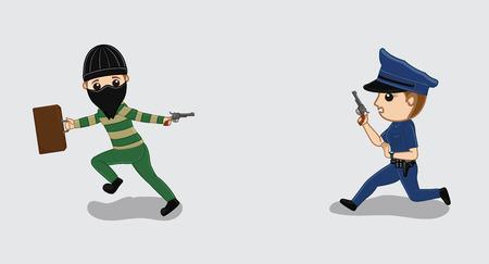Police Firing on Robber Illustration
