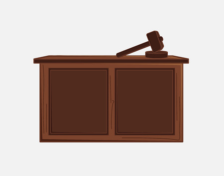 Judge Hammer and Desk Vector