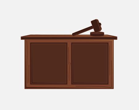 Judge Hammer and Desk Vector