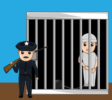 imprisonment: Guard Watching Prisoner Vector Concept Illustration
