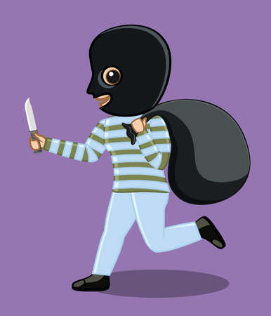 robbery: Balaclava Robber Running After Robbery Illustration