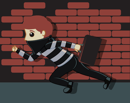 thug: Thief Running with Money Suitcase Vector Illustration