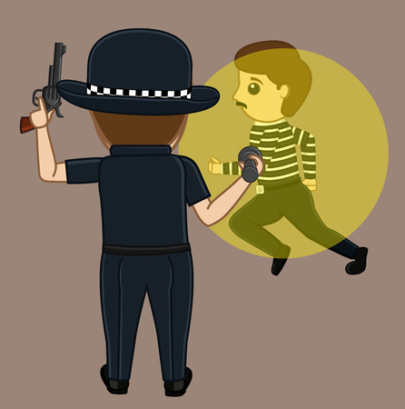 torch light: Thief Caught on Police Torch Light Vector Concept