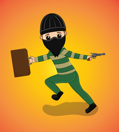 firing: Scared Thief Firing and Holding a Suitcase