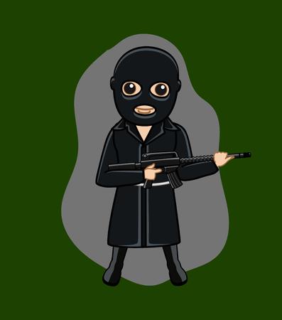 Black Suit Gangster with Gun Illustration