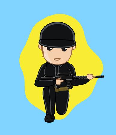 commando: Commando Girl Holding a Gun Illustration