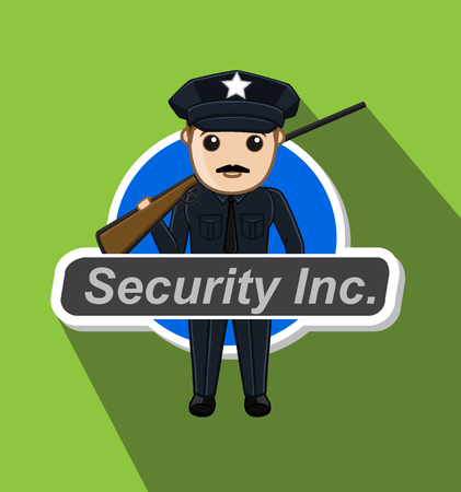 intimidating: Security Guard with Rifle Illustration