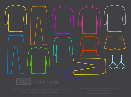 garments: Male and Female Inner Garments Vector Designs Illustration