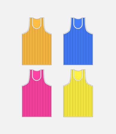 Colorful Striped Gym Vest Vector Set