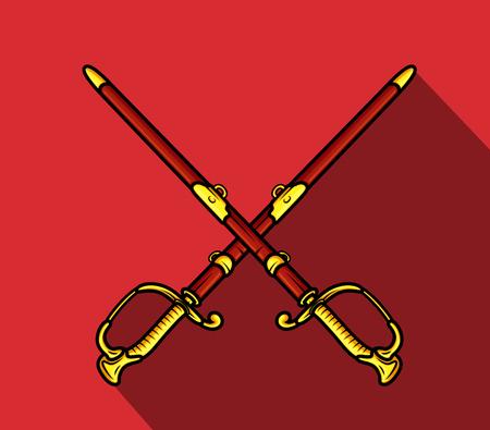 scheide: Samuraischwerter mit Scheide Illustration
