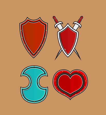 ninja tool: Variety of Retro Shields with Swords