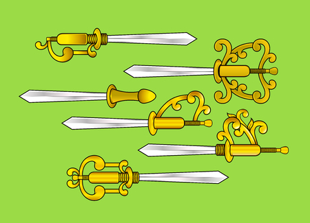 Ancient Traditional Swords Vector