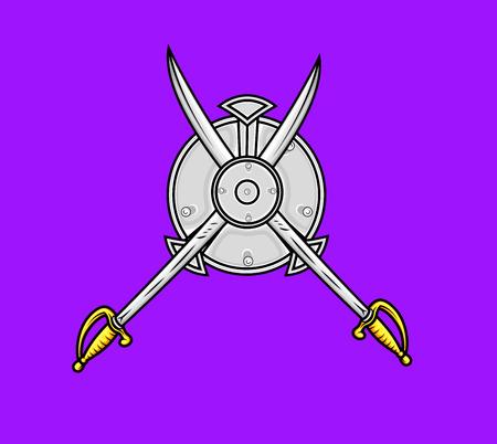 ninja tool: Ancient Cross Swords with Shield