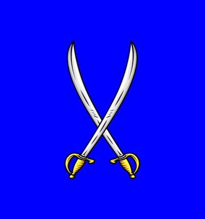 ninja tool: Cross Swords Vector Illustration