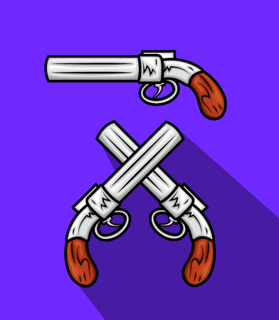 Retro Pistols Illustration