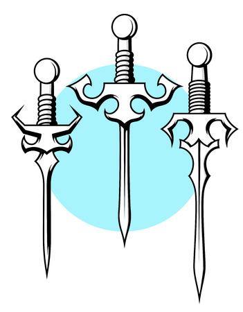 buckler: Oriental Swords Vector Designs Illustration